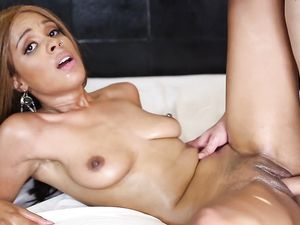 Fucked Black Girl Takes Hot Cum On Her Tongue