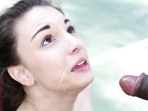 Giant Ebony Cock Nailing A Sporty Teen Outdoors