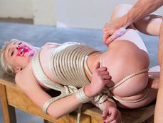 Rough Rope Bound Fucking Of A Skinny Blonde Cutie