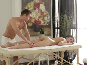 Dark Haired Beauty Riding Cock On The Massage Table