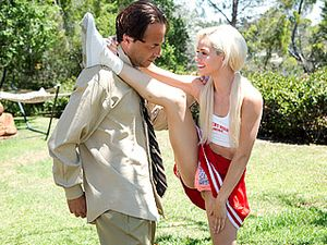 Tiny Blonde Cheerleader Fucking Him Outdoors