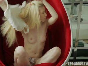 Dildo Slides Into A Shaved Teenage Cunt