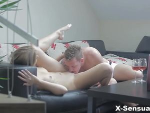 Sweet Young Blonde Girlfriend Fucked Until He Cums