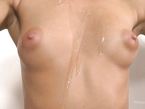 Perky Teen Tits Covered In Slippery Baby Oil