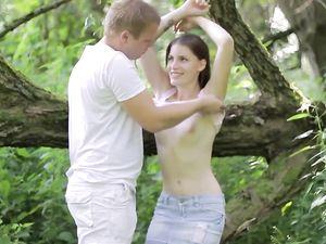Teen Riding Her Boyfriend In The Nature