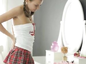 Schoolgirl With Pigtails Masturbating With Toys