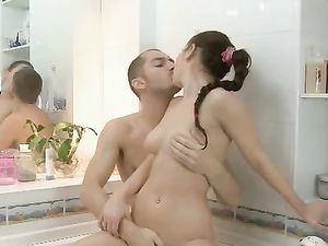 Brunette With Firm Titties Fucking In The Bathtub