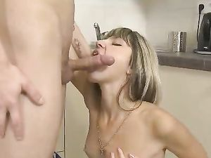 Blonde Babe Sucking And Fucking A Smooth Shaft