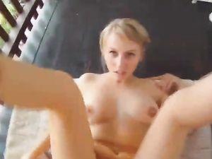 Smiling Blonde Teen Outdoor Fucking And Cumshot