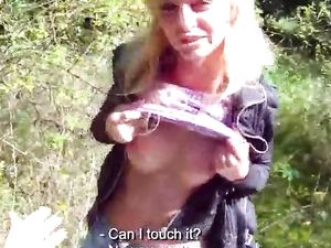 Blonde Hottie Outdoor Blowjob And Doggy Style Fucking