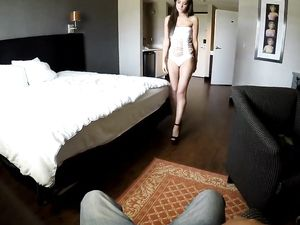 Amazing Brunette Riding A Stiff Dong And Cumshot
