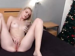 Solo Blonde Young Babe Masturbating While Home Alone