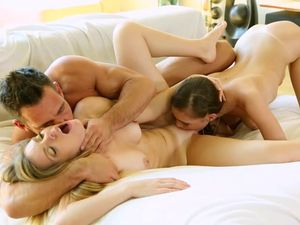 Horny Babes Sharing One Throbbing Boner In A Threesome
