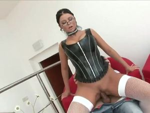 Lady In Leather Bangs Him Until He Busts A Nut