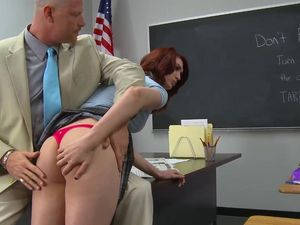 Teacher Takes Advantage Of His Slutty Redheaded Student