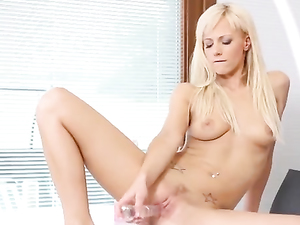 Booty Teasing Hottie Masturbates With A Long Dildo